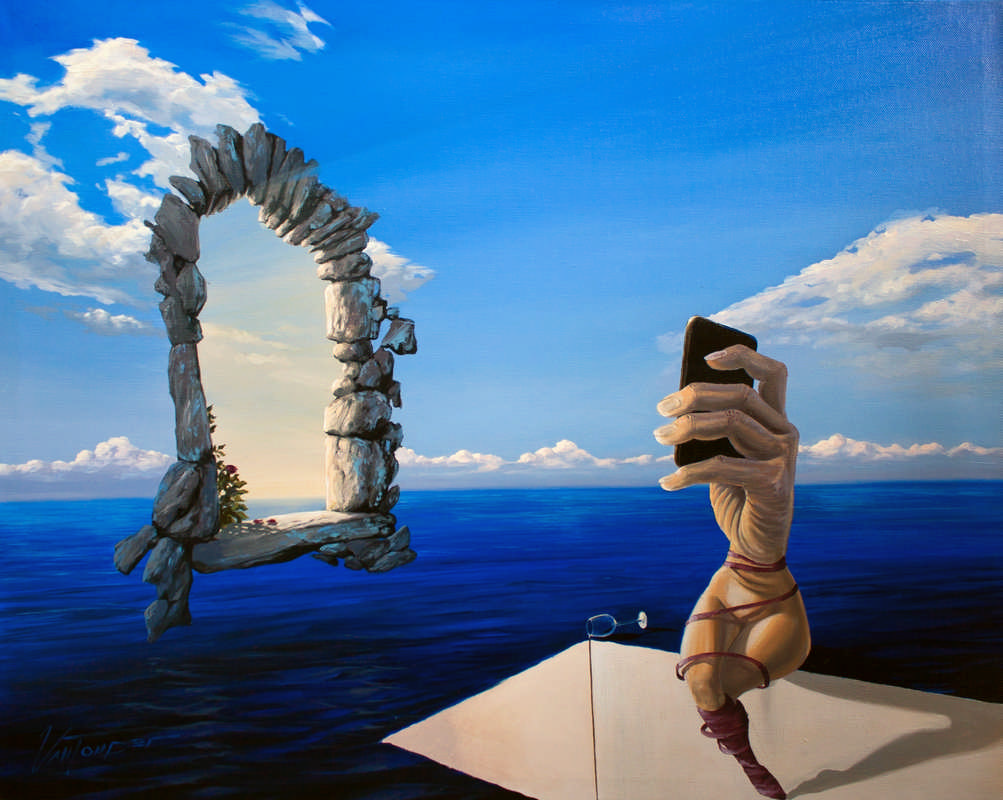 surreal painting by south african artist pieter van tonder titled 'existension'